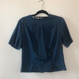 Tops - Vintage blue and black striped blouse